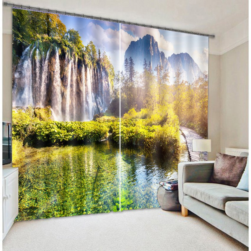 Splendid Waterfall Nature Scenery Printing 3D Curtain