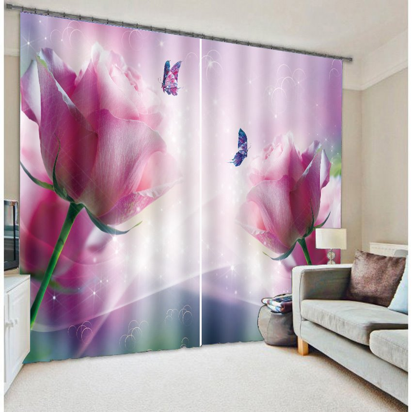 Pretty Pink Rose And Beautiful Purple Butterfly Printing 3d Curtain