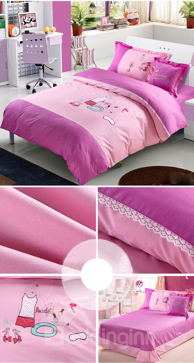 Girls Slumber Party Theme 4-Piece Duvet Cover Set