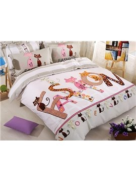 Lovely Cats Family Kids Organic Cotton 4-Piece Duvet Cover Set
