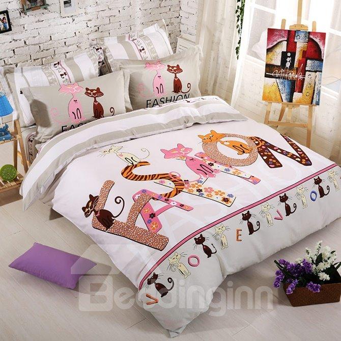 Lovely Cats Family Kids Organic Cotton 4-Piece Duvet Cover Set