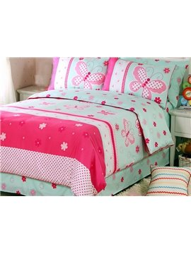 Graceful Butterfly Pattern 100% Cotton 4-Piece Duvet Cover Set