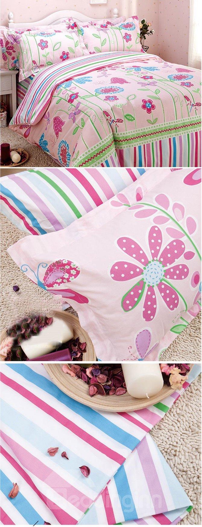 Beautiful Flower Pattern Cotton Kids 4-Piece Duvet Cover Set