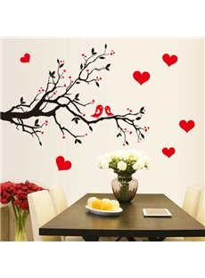 Lovely Cartoon Birds on Tree Branches Removable Wall Sticker