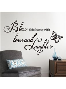 Words and Quotes Bless This Home with Love and Laughter Removable Wall Sticker