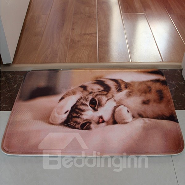 Cute Yoga Kitten Flannel Anti-Slipping Doormat