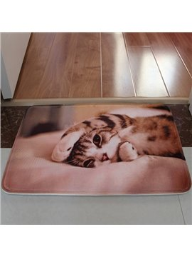 Cute Yoga Kitten Flannel Anti-Slipping Doormat