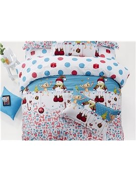 Lovely Snowman Christmas Gift Print 4-Piece Cotton Duvet Cover Sets