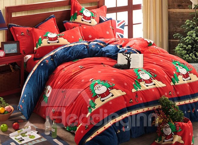 Santa Claus & Christmas Tree Print 4-Piece Duvet Cover Sets