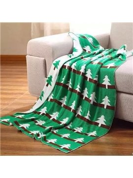 Cute Christmas Tree Print Green Cotton Blanket