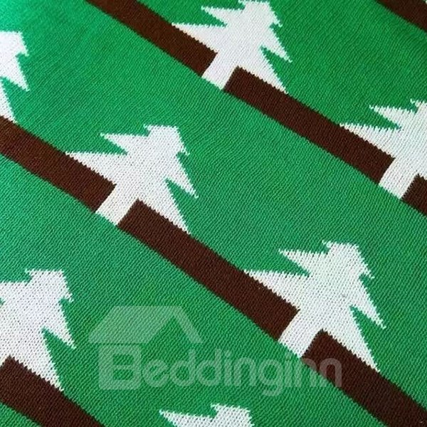 Cute Christmas Tree Print Green Cotton Blanket