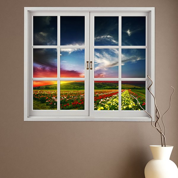 Beautiful Colorful Flowers Field Window View Removable 3D Wall Sticker