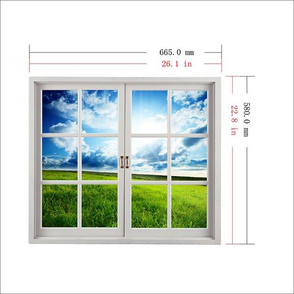 Green Grass Field under Clear Blue Sky Window View Removable 3D Wall Sticker