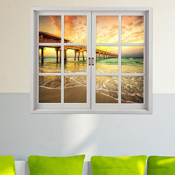 Marvelous Bridge in Sunset Window View 3D Wall Sticker