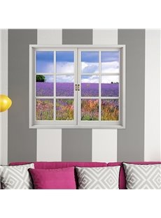 Romantic Lavender Field Window View Removable 3D Wall Sticker