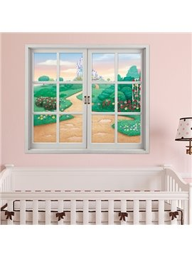 Lovely Cartoon Style Way to the Castle Window View Removable 3D Wall Sticker