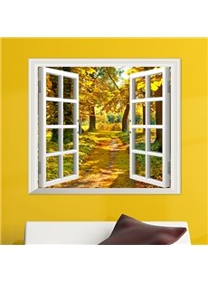 Quiet Lane in the Golden Countryside Window View Removable 3D Wall Sticker