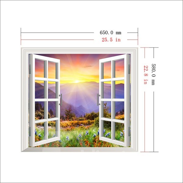 Gorgeous Sunrise in the Flowery Valley Window View Removable 3D Wall Sticker
