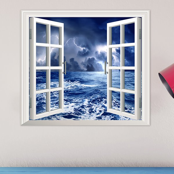 Stormy night at sea window view removable 3d wall sticker for 3d wall decals