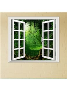 Cartoon Thick Forest Window View Removable 3D Wall Sticker