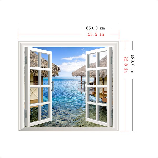 Wonderful Seaside Cottage Window View Removable 3D Wall Sticker