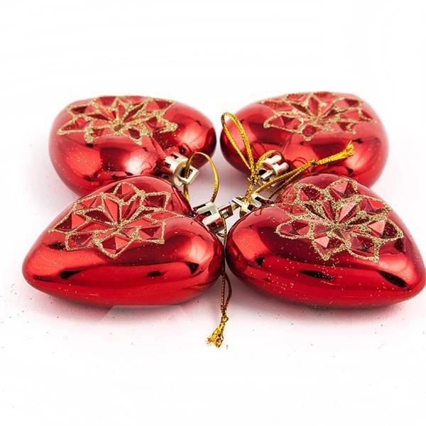Romantic Heart Shape 4-pieces Christmas Decoration