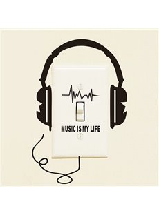Creative Headphone Music is My Life Removable Switch Wall Sticker