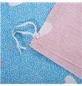 Lovely Rabbit Girl 100% Cotton 4-Piece Duvet Cover Set