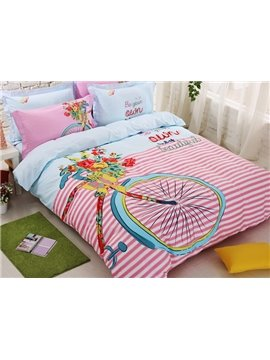 Bike Print Stripe Pattern Kids Cotton 4-Piece Duvet Cover Set