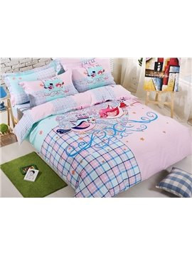 100% Cotton Lovely Birds Print 4-Piece Duvet Cover Set