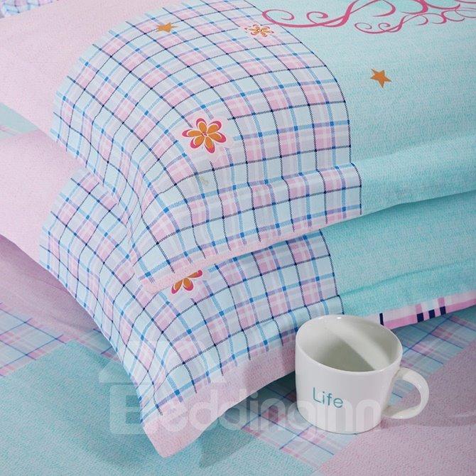 100% Cotton Lovely Birds Print 4-Piece Duvet Cover Set