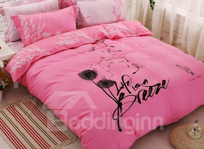 Pink dandelion print 100 cotton 4 piece duvet cover set for Cama kawaii
