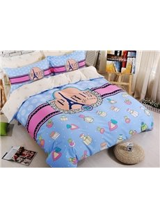 Romantic Paris Theme Kids 4-Piece Duvet Cover Set