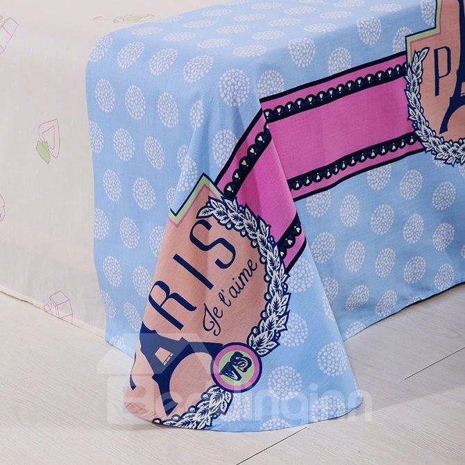 Romantic Paris Theme Kids 4-Piece Duvet Cover Set