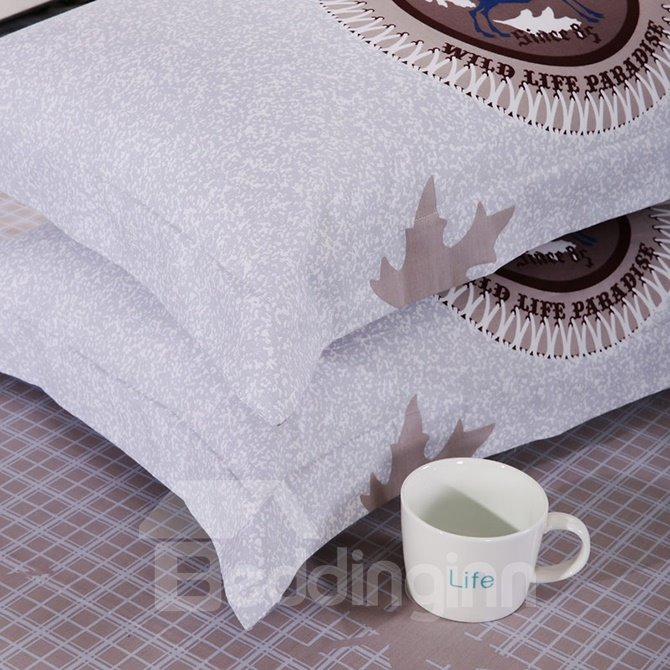 Stylish Maple Leaf Kids Cotton 4-Piece Duvet Cover Set