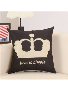 Noble Crown Print Coll Black Decorative Throw Pillow