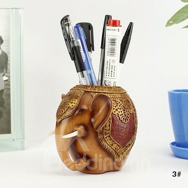 Creative Elephant Design Resin Pen Holder Desktop Decoration