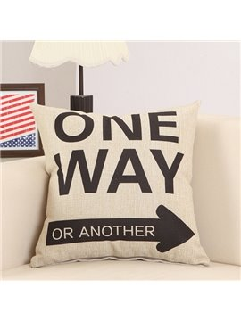 Black Arrow Letter Print Cotton & Linen Throw Pillow
