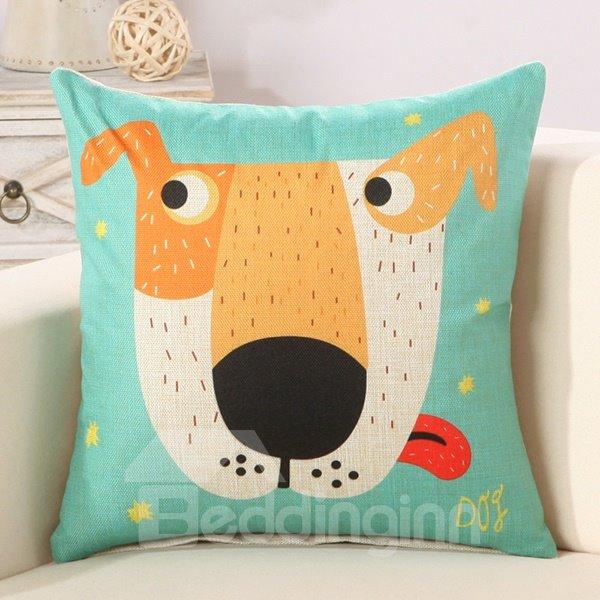 Cartoon Dog Print Super Comfy Cotton Linen Throw Pillow