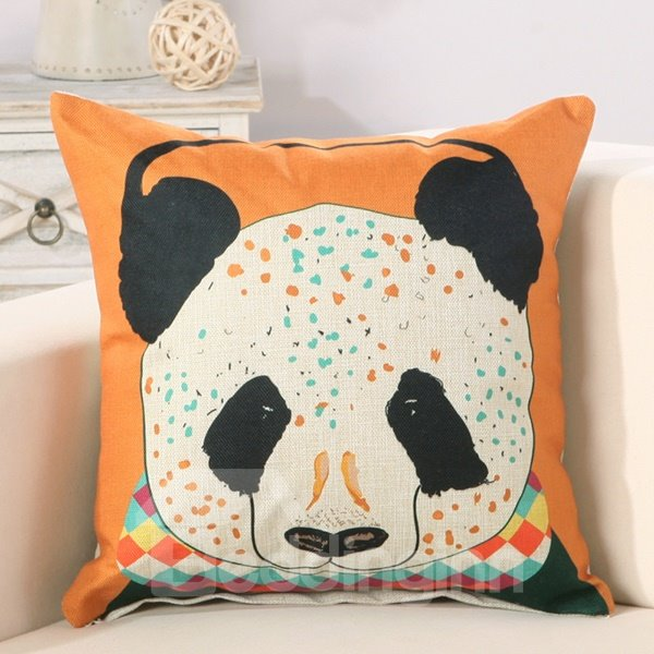 Panda Print Soft Cotton Linen Orange Throw Pillow