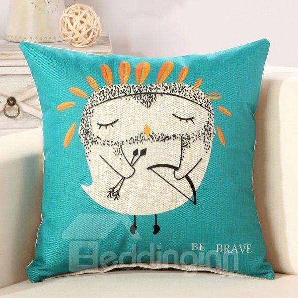 Cartoon Owl Refreshing Fluffy Blue Throw Pillow