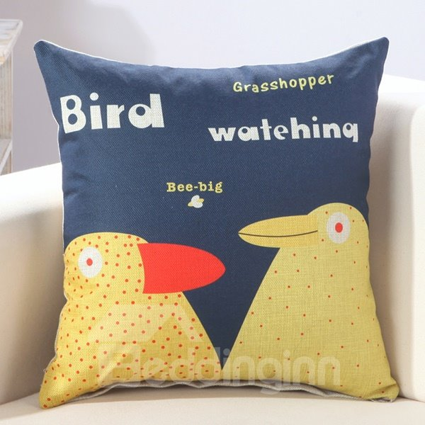 Novelty Bird Couple Print Blue Throw Pillow