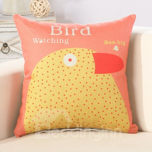 Yellow Bird Print Cotton Linen Throw Pillow - beddinginn.com