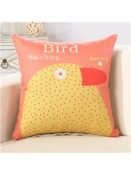 Yellow Bird Print Cotton Linen Throw Pillow