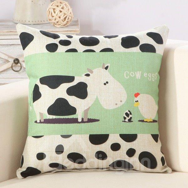 Cute Cartoon Caw & Hen Print Cotton & Linen Throw Pillow