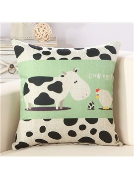 Cute Cartoon Caw & Hen Print Cotton & Linen Throw Pillow