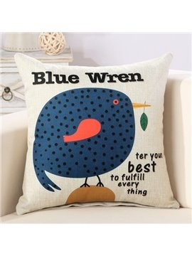 Cartoon Fat Blue Wren Print Decorative Throw Pillow