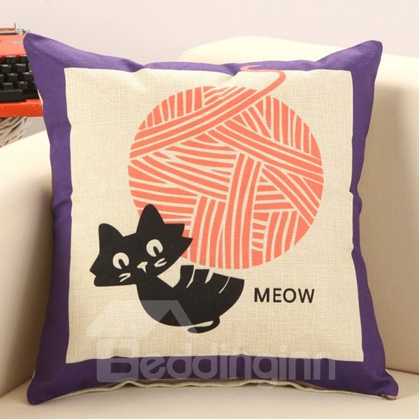 Funny Cat Pulls String Print Decorative Throw Pillow