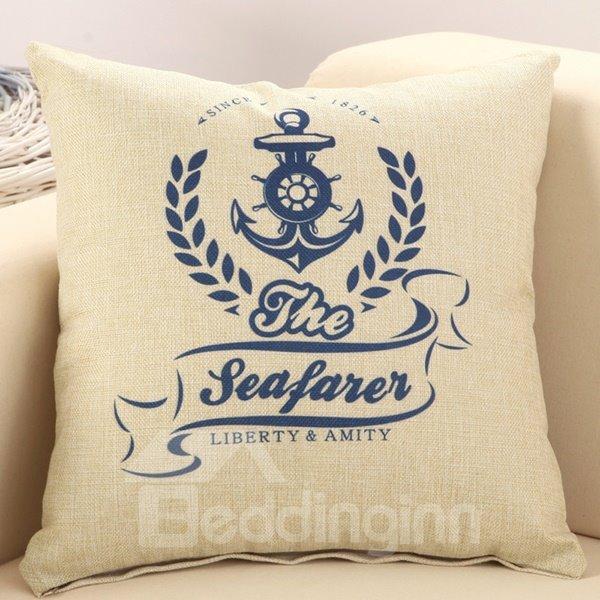 Set Sail Mediterranean Style Cotton Linen Throw Pillow