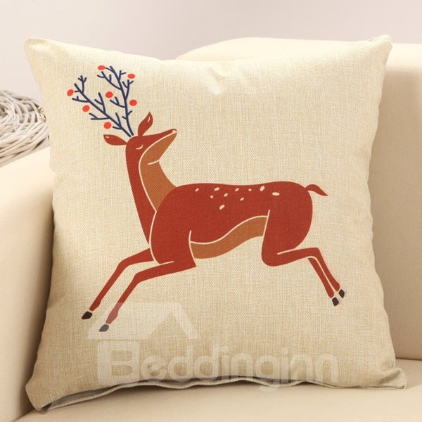 Throw Pillows Deer : Running Sika Deer Print Cotton & Linen Throw Pillow - beddinginn.com